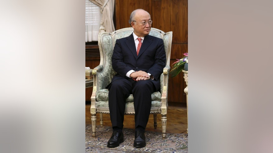 Director General of the International Atomic Energy Agency (IAEA) Yukiya Amano listens to head of Iran's Atomic Energy Organization Ali Akbar Salehi during their meeting in Tehran, Iran, Sunday, Sept. 20, 2015. Amano's visit comes less than a month before an Oct. 15 deadline to gather information on allegations that Iran had in the past tried to build atomic weapons. A final U.N. assessment is due in December. (AP Photo/Vahid Salemi)