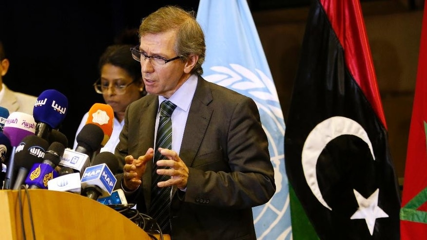 U.N. representative for Libya, Bernardino Leon, gestures as he addresses reporters in Skhirat, Morocco, Monday, Sept. 21, 2015. U.N. envoy Leon announced late Monday that the Libyan peace talks are completed and an agreement will be presented to all parties for signing after the Eid al-Adha holiday. (AP Photo/Abdeljalil Bounhar)