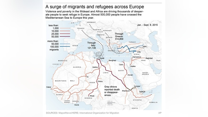 Map shows paths of peoples seeking asylum and other migrants across Europe.; 3c x 6 inches; 146 mm x 152 mm;