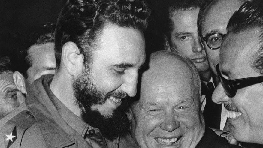 "FILE - In a Sept. 20, 1960 file photo, Cuban leader Fidel Castro, left, and Soviet leader Nikita Khrushchev hug at the United Nations. On Sept. 26, 1960, Castro denounced the United States in the longest timed speech ever in the U.N. General Assembly, 4 hours and 29 minutes.  In the rambling speech, Castro defended Cuba's links to the Soviet Union, expressed serious concern that America's ""imperialist government"" might attack Cuba, and called U.S. President John F. Kennedy ""an illiterate and ignorant millionaire.""  (AP Photo/Marty Lederhandler, File)"
