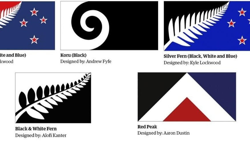 "This combination of images made on Sept. 24, 2015, from an image released Aug. 11, 2015, by the New Zealand Flag Consideration Project shows five designs which are finalists being considered as the new flag for New Zealand in Wellington, New Zealand. New Zealanders now have a fifth option to choose from when deciding whether to change their flag after a popular campaign for a geometric design called ""Red Peak"" prompted lawmakers to change the rules to add it to the original four finalists.The flag that wins in November will be pitted head-to-head against the current flag in a second nationwide vote next March. (New Zealand Flag Consideration Project via AP)"
