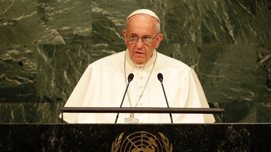 Pope Francis addresses the 70th session of the United Nations General Assembly, Friday, Sept. 25, 2015 at United Nations headquarters. (AP Photo/Seth Wenig)