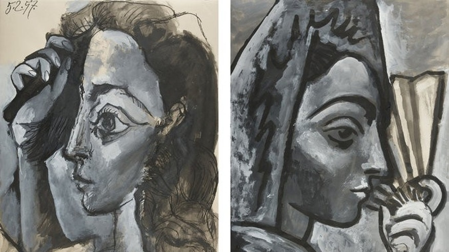 """Tête de femme. Profil"" [Head of a Woman. Profile], left, and, ""Espagnole à l'éventail"",[Spanish Woman with a Fan]. Both are currently in the possession of French authorities for authentication."