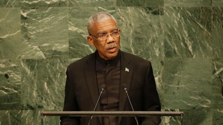 David Arthur Granger, President of Guyana, addresses the 2015 Sustainable Development Summit, Friday, Sept. 25, 2015 at United Nations headquarters. (AP Photo/Seth Wenig)