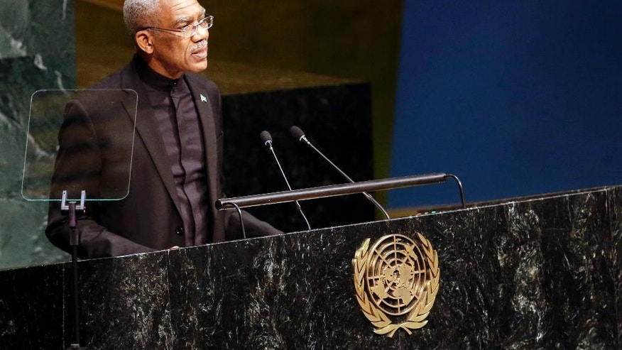 President of Guyana David Arthur Granger addresses the Sustainable Development Summit, Friday, Sept. 25, 2015, at United Nations headquarters. (AP Photo/Mary Altaffer)