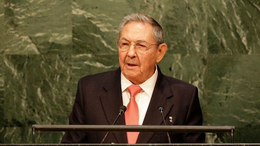 Cuban President Raul Castro Ruz addresses the 2015 Sustainable Development Summit, Saturday, Sept. 26, 2015 at United Nations headquarters. (AP Photo/Seth Wenig)