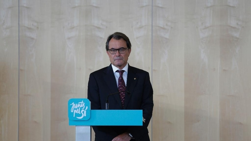 In this Friday, Sept. 11, 2015 photo, the President of Democratic Convergence of Catalonia Artur Mas pauses during a press conference in Barcelona, Spain. Catalan secessionists pushed for years for an independence referendum that Spain's central government refused to allow. Now secessionists hope that Sunday's regional parliament elections will put Catalonia on the road toward breaking away. (AP Photo/Manu Fernandez)