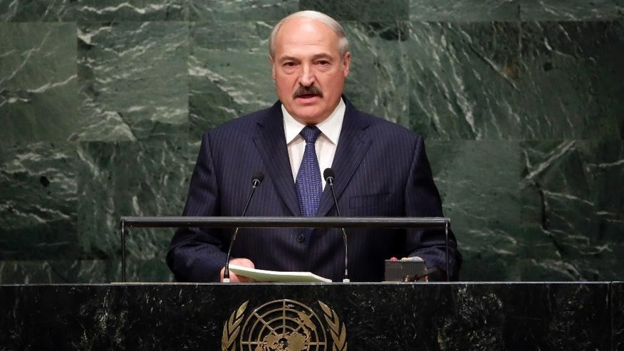 President Alexander Lukashenko, of Belarus, addresses the 2015 Sustainable Development Summit, Sunday, Sept. 27, 2015, at United Nations headquarters. (AP Photo/Richard Drew)