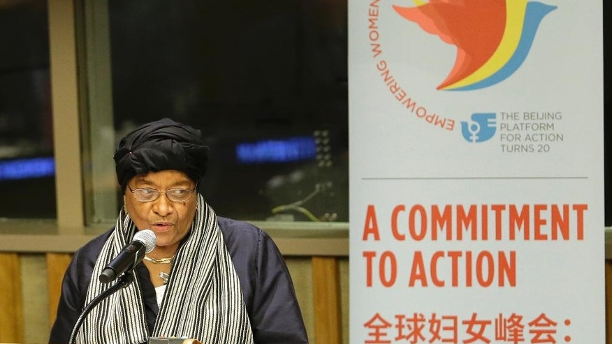 Liberian President Ellen Johnson Sirleaf speaks during a meeting on gender equality and women's empowerment at United Nations headquarters, Sunday, Sept. 27, 2015. (AP Photo/Seth Wenig)