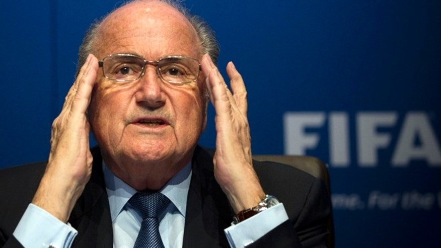March 30, 2012: FIFA President Sepp Blatter gestures during a press conference at the FIFA headquarters in Zurich, Switzerland.