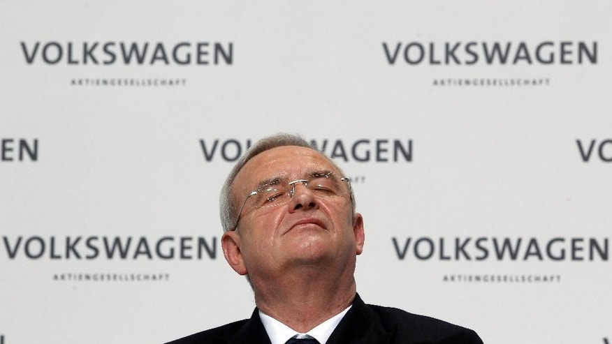 FILE - In this March 12, 2012 file photo Volkswagen CEO Martin Winterkorn attends the company's annual press conference in Wolfsburg, Germany. German prosecutors said Monday, Sept. 28, 2015 they open investigation into former Volkswagen CEO Martin Winterkorn.  (AP Photo/Michael Sohn)