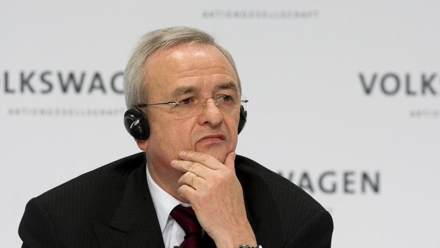 FILE - In this March 12, 2009 file photo Martin Winterkorn, chairman of the board of the Volkswagen group, during the annual press conference in Wolfsburg, northern Germany. Prosecutors said Monday, SEpt. 28, 2015 they are opening investigations against Winterkorn on the suspicion of fraud by selling cars with with manipulated emission tests.  (AP Photo/Joerg Sarbach)