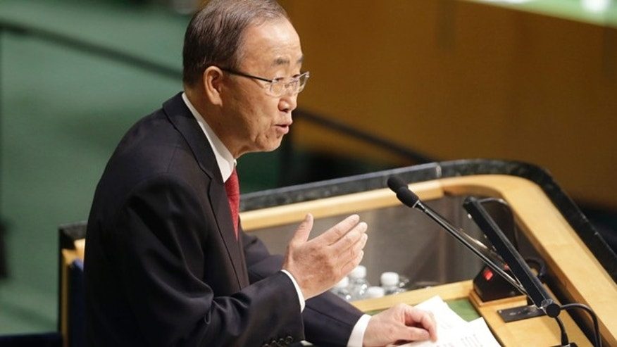 Sept. 28, 2015: United Nations Secretary-General Ban Ki-moon speaks during the 70th session of the United Nations General Assembly.