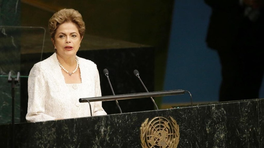 Brazilian President Dilma Rousseff addresses the 70th session of the United Nations General Assembly at U.N. headquarters, Monday, Sept. 28, 2015. (AP Photo/Mary Altaffer)