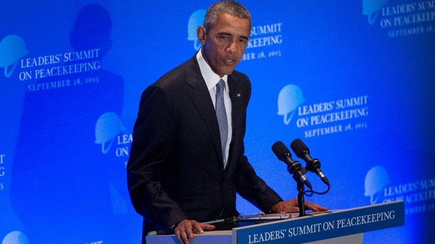 United States President Barack Obama speaks at a leaders' summit on peacekeeping at United Nations headquarters Monday, Sept. 28, 2015. (AP Photo/Kevin Hagen)