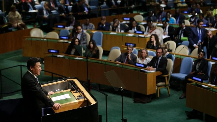 China's President Xi Jinping speaks during the 70th session of the United Nations General Assembly at U.N. headquarters, Monday, Sept. 28, 2015. (AP Photo/Seth Wenig)