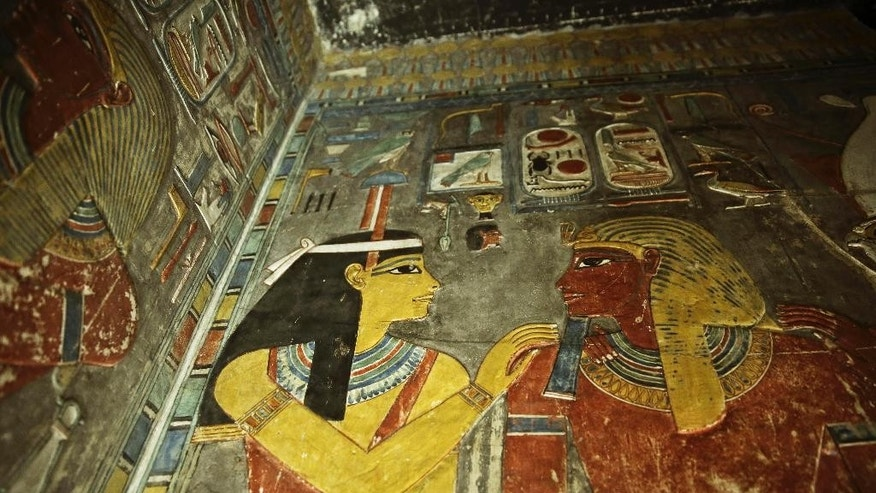 Carvings are seen on a wall at the Horemheb tomb in the Valley of the Kings in Luxor, Egypt, Tuesday, Sept. 29, 2015. Egypt's antiquities minister said King Tut's tomb may contain hidden chambers, lending support to a British Egyptologist's theory that a queen may be buried in the walls of the 3,300 year-old pharaonic mausoleum. (AP Photo/Nariman El-Mofty)