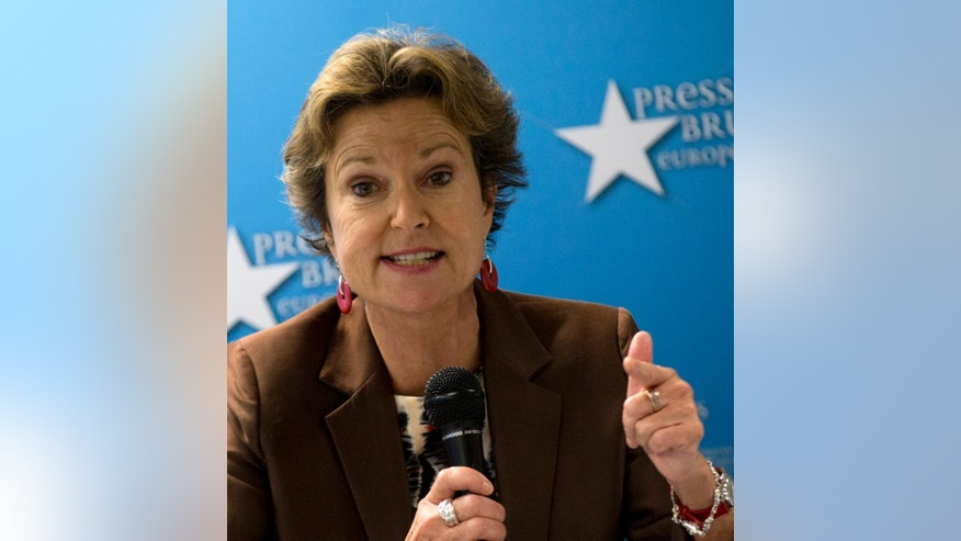 Board member and former chairperson for the Committee to Protect Journalists, Kati Marton, speaks during a media conference  in Brussels on Tuesday, Sept. 29, 2015. The New York-based Committee to Protect Journalists said in a report on Tuesday's that the 28-nation bloc was struggling to match its lofty human rights standards with its day-to-day actions in protecting journalists around the world. (AP Photo/Virginia Mayo)