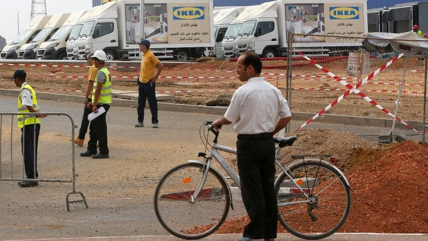 Outside view of the construction site of the country's first Ikea store outside Casablanca, Morocco, Tuesday, Sept. 29, 2015. Morocco's government has suspended the opening of the country's first Ikea store, in a last-minute decision reportedly linked to Sweden's diplomatic position on Moroccan-controlled Western Sahara. (AP Photo/Abdeljalil Bounhar)