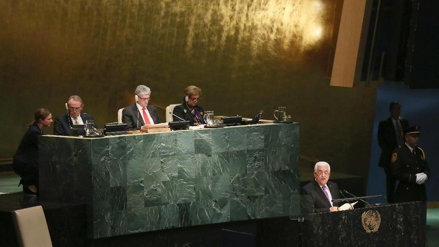Palestinian President Mahmoud Abbas addresses the 70th session of the United Nations General Assembly on Wednesday, Sept. 30, 2015 at U.N. Headquarters. (AP Photo/Mary Altaffer)