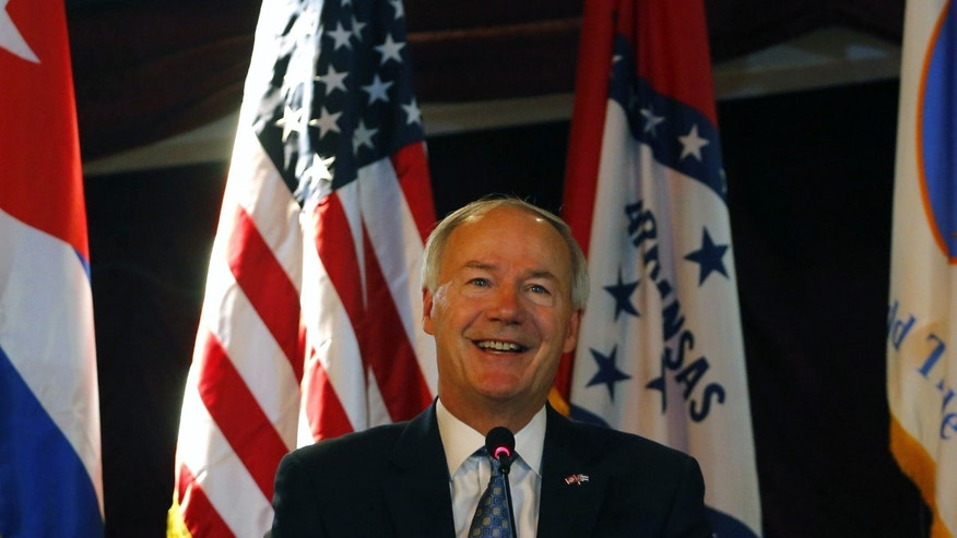 Arkansas Gov. Asa Hutchinson speaks during a joint U.S.-Cuba business meeting in Havana, Cuba, Monday, Sept. 28, 2015. Hutchinson is leading a delegation to Cuba to promote the state's agriculture in the wake of the U.S. embassy reopening in Havana. (AP Photo/Desmond Boylan)