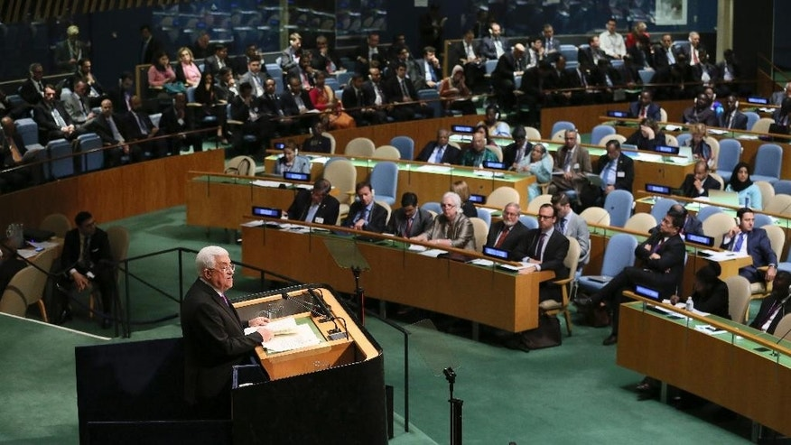 Mahmoud Abbas, President of the State of Palestine, addresses the 70th session of the United Nations General Assembly, on Wednesday, Sept. 30, 2015 at U.N. Headquarters.  (AP Photo/Mary Altaffer)
