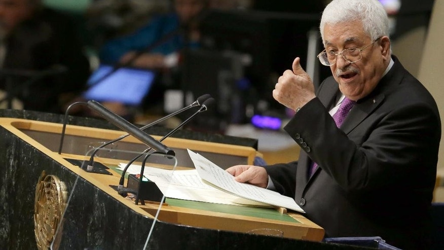 Mahmoud Abbas, President of the State of Palestine, addresses the 70th session of the United Nations General Assembly, at U.N. Headquarters, on Wednesday, Sept. 30, 2015. (AP Photo/Mary Altaffer)