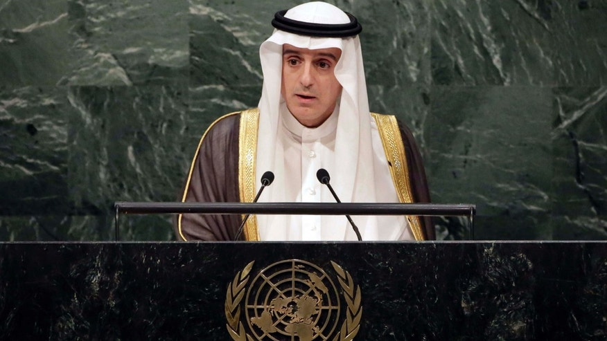 FILE - In this Sept. 27, 2015, file photo, Saudi Foreign Minister Adel al-Jubeir addresses the 2015 Sustainable Development Summit at United Nations headquarters.