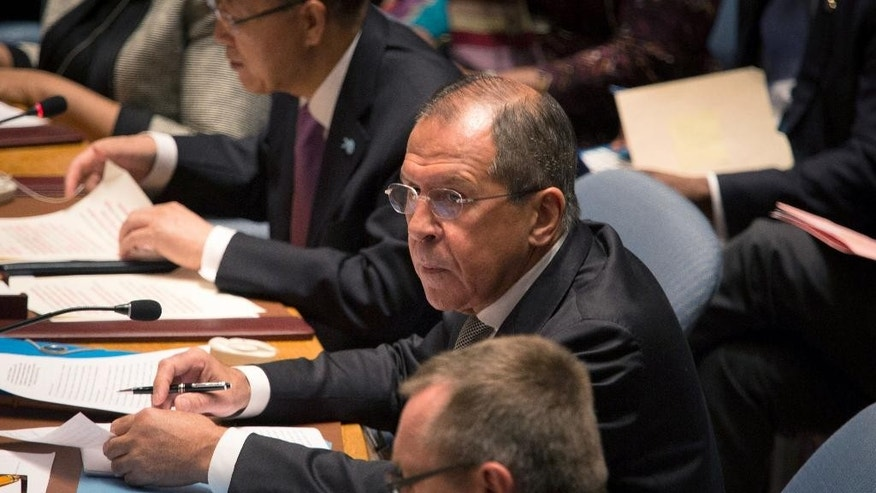 Russia's Foreign Minister Sergey Lavrov attends the United Nations Security Council at the United Nations headquarters Wednesday, Sept. 30, 2015. (AP Photo/Kevin Hagen)