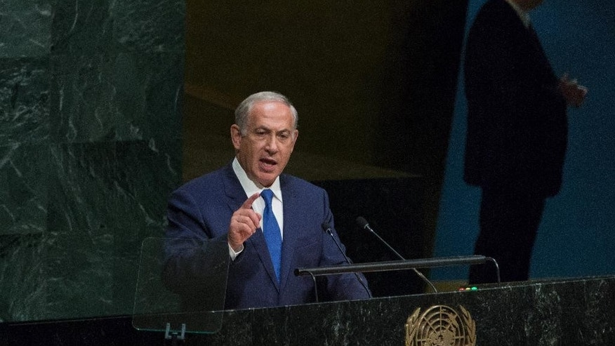 Israel's Prime Minister Benjamin Netanyahu speaks during the 70th session of the United Nations General Assembly at U.N. headquarters, Thursday, Oct. 1, 2015.(AP Photo/Kevin Hagen)