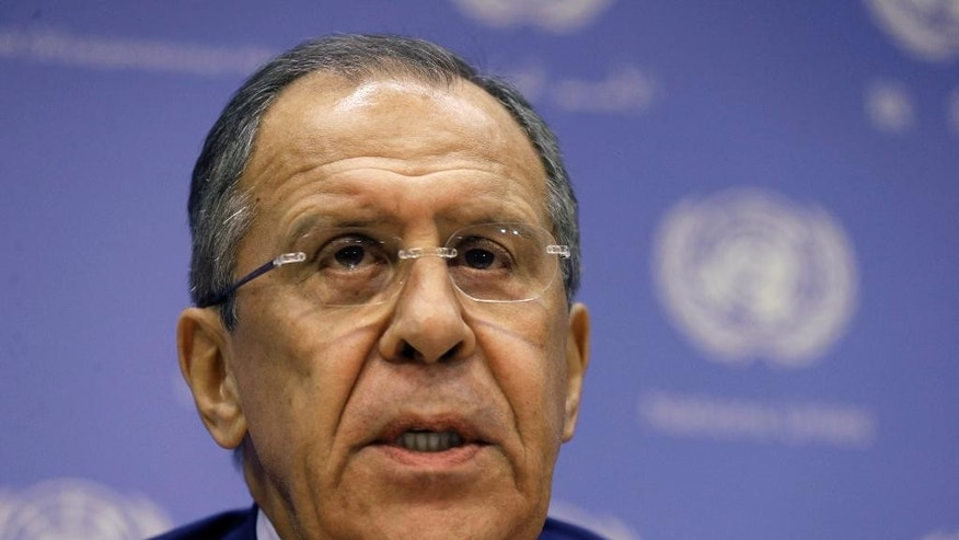 Russia's Foreign Minister Sergey Lavrov delivers remarks during a news briefing at the United Nations headquarters Thursday, Oct. 1, 2015. (AP Photo/Adam Hunger)