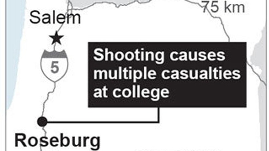 Map locates Roseburg, Oregon, where a shooting took place; 1c x 2 inches; with BC-US--Oregon School Shooting; ETA 4 p.m. ; 1c x 2 inches; 46.5 mm x 50 mm;