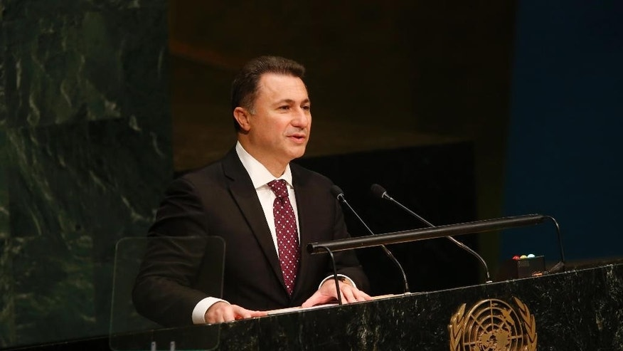 Macedonia's President Nikola Gruevski addresses the 70th session of the United Nations General Assembly at U.N. headquarters, Friday, Oct. 2, 2015. (AP Photo/Jason DeCrow)