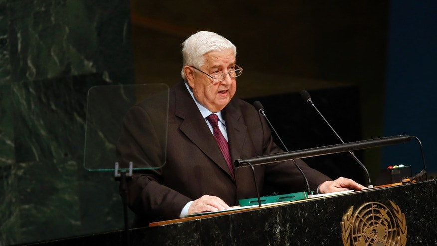 Oct. 2, 2015 - Syria's Foreign Minister Walid al-Moallem addresses the 70th session of the UN General Assembly at UN headquarters.