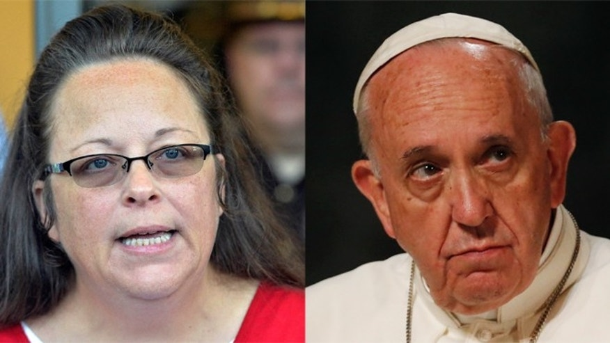 Kim Davis (left) and Pope Francis. (Photos: Davis, Associated Press; Pope, Getty Images)