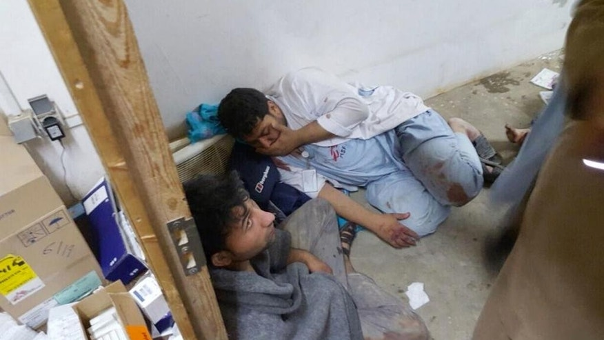 "Injured, Doctors Without Borders staff are seen after an explosion near their hospital in the northern Afghan city of Kunduz, Saturday, Oct. 3, 2015. Nine local staffers for Doctors Without Borders were killed and 30 were missing after an explosion that may have been caused by a U.S. airstrike. In a statement, the international charity said the ""sustained bombing"" took place at 2:10 a.m. (2140 GMT). Afghan forces backed by U.S. airstrikes have been fighting to dislodge Taliban insurgents who overran Kunduz on Monday.  (Médecins Sans Frontières via AP)"