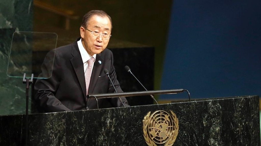 "FILE - In this Friday, Sept. 25, 2015 file photo, United Nations Secretary-General Ban Ki-moon addresses the Sustainable Development Summit 2015 at United Nations headquarters. Three days after world leaders adopted a sweeping set of global development goals, Ban said, ""We must do everything we can to close the gap between the world as it is, and the world as it should be."" (AP Photo/Mary Altaffer)"