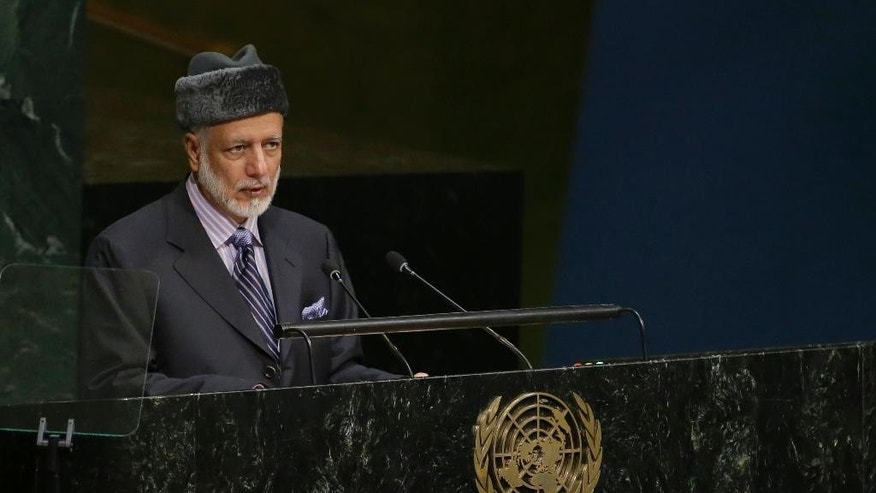 Oman's Foreign Minister Yusuf bin Alawi bin Abdullah addresses the 70th session of the United Nations General Assembly, at U.N. Headquarters, Saturday, Oct. 3, 2015.(AP Photo/Mary Altaffer)