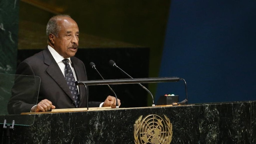 Osman Mohammed Saleh, Minister for Foreign Affairs of Eritrea addresses the 70th session of the United Nations General Assembly, Oct. 3, 2015 at U.N. Headquarters, Saturday. (AP Photo/Mary Altaffer)