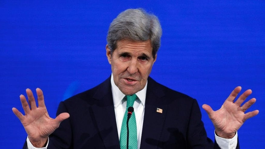 U.S. Secretary of State John Kerry addresses the Our Ocean international conference on marine protection in Vina del Mar, Chile, Monday, Oct. 5, 2015. President Barack Obama declared new marine sanctuaries in Lake Michigan and the tidal waters of Maryland on Monday, while Chile blocked off a vast expanse of the Pacific Ocean near the world-famous Easter Island from commercial fishing and oil and gas exploration. (AP Photo/Luis Hidalgo)