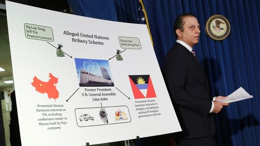 U.S. Attorney Preet Bharara announces an indictment against six United Nations individuals during a news conference, Tuesday, Oct. 6, 2015 in New York. Former United Nations General Assembly President John Ashe accepted more than $500,000 in bribes from a Chinese real estate mogul and other businesspeople in exchange for help obtaining lucrative investments and government contracts, according to federal court documents unsealed Tuesday.  (AP Photo/Mark Lennihan)