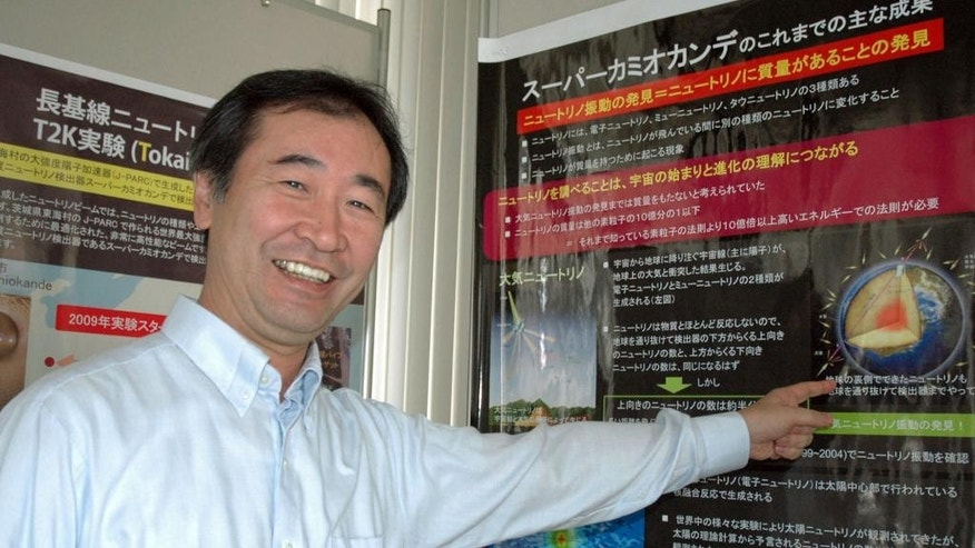 This Sept. 2011 photo shows Takaaki Kajita of Japan, director of the Institute for Cosmic Ray Research and professor at the University of Tokyo, at the university's Institute for Cosmic Ray Research in Kashiwa, near Tokyo.  Kajita and Arthur McDonald of Canada won the Nobel Prize in physics on Tuesday, Oct. 6, 2015,  for the discovery of neutrino oscillations. (Kyodo News via AP) JAPAN OUT, CREDIT MANDATORY