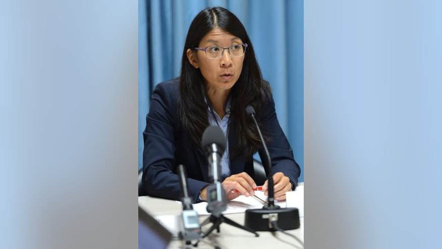 "Joanne Liu, President of Medecins Sans Frontieres, MSF, International, speaks during a news conference on the US air strike on a hospital in Kunduz, Afghanistan, in Geneva, Switzerland, Wednesday, Oct. 07, 2015. Liu, told reporters that the weekend strike ""was not just an attack on our hospital, it was an attack on the Geneva Conventions. This cannot be tolerated."" (Martial Trezzini/Keystone via AP)"