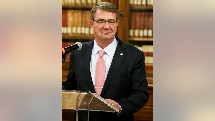 US Secretary of Defense Ashton Carter gives a joint press conference with Italian Defense Minister Roberta Pinotti on the occasion of their bilateral meeting, in Rome, Wednesday, Oct. 7, 2015.  (AP Photo/Andrew Medichini)