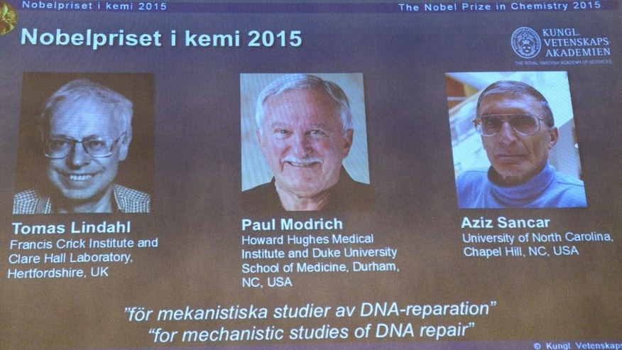 "A view of the screen showing the winners of the 2015 Nobel Prize for Chemistry, during a press conference,  in Stockholm, Wednesday, Oct. 7, 2015. Sweden's Tomas Lindahl, American Paul Modrich and U.S.-Turkish scientist Aziz Sancar won the Nobel Prize in chemistry on Wednesday for ""mechanistic studies of DNA repair."" (AP Photo)"