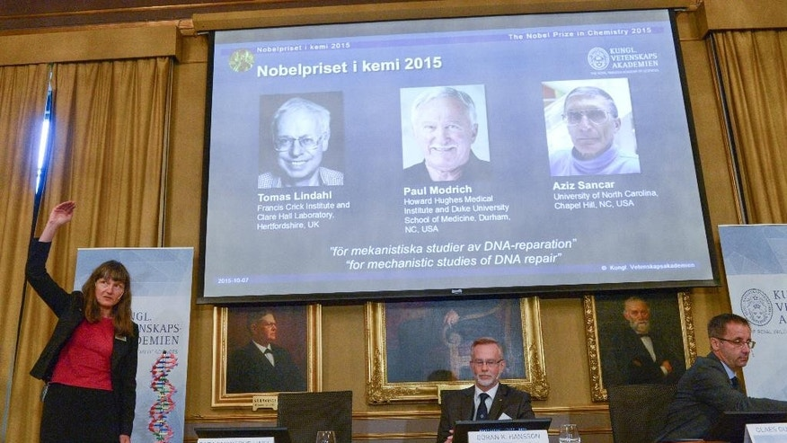 "Professor Sara Snogerup Linse, left  explains why the laureates were awarded as Goran K. Hansson, centre and Claes Gustafsson, members of the Nobel Assembly sit, during a press conference at the Royal Swedish Academy in Stockholm, Wednesday, Oct. 7, 2015. Sweden's Tomas Lindahl, American Paul Modrich and U.S.-Turkish scientist Aziz Sancar won the Nobel Prize in chemistry on Wednesday for ""mechanistic studies of DNA repair."" (Fredrik Sandberg/ TT News Agency via AP)  SWEDEN OUT"