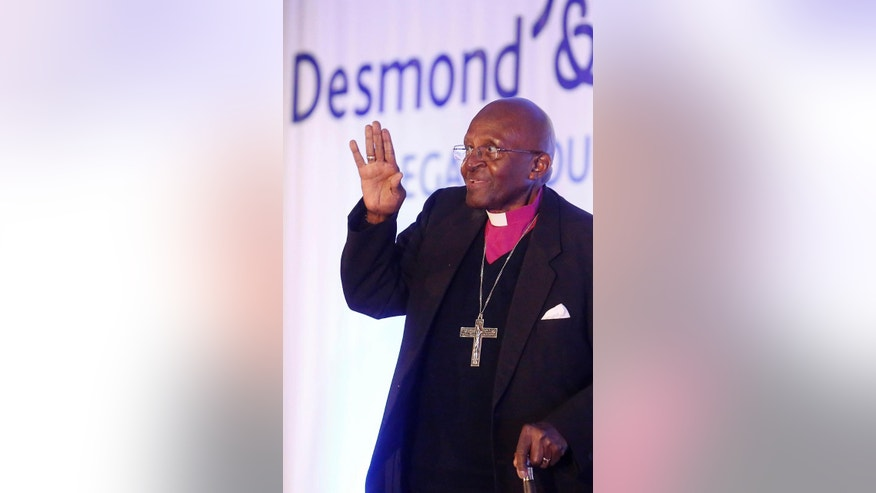 South Africa's Nobel Peace Prize winner Desmond Tutu,  during  the fifth annual Desmond Tutu Peace Lecture at the University of the Western Cape in Cape Town, South Africa, Wednesday, Oct. 7, 2015. South Africa's Nobel Peace Prize winner Desmond Tutu marked his 84th birthday on Wednesday with one of his first public appearances since being hospitalized for a persistent infection.  (AP Photo/Schalk van Zuydam)