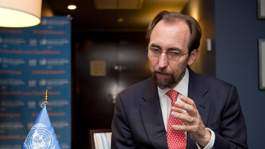 U.N. High Commissioner for Human Rights Zeid Ra'ad Al Hussein answers questions during an interview with the Associated Press in Mexico City, Wednesday, Oct. 7, 2015.  Zeid called on the Mexican government to set a timetable for withdrawing military personnel from law enforcement duties. (AP Photo/Eduardo Verdugo)