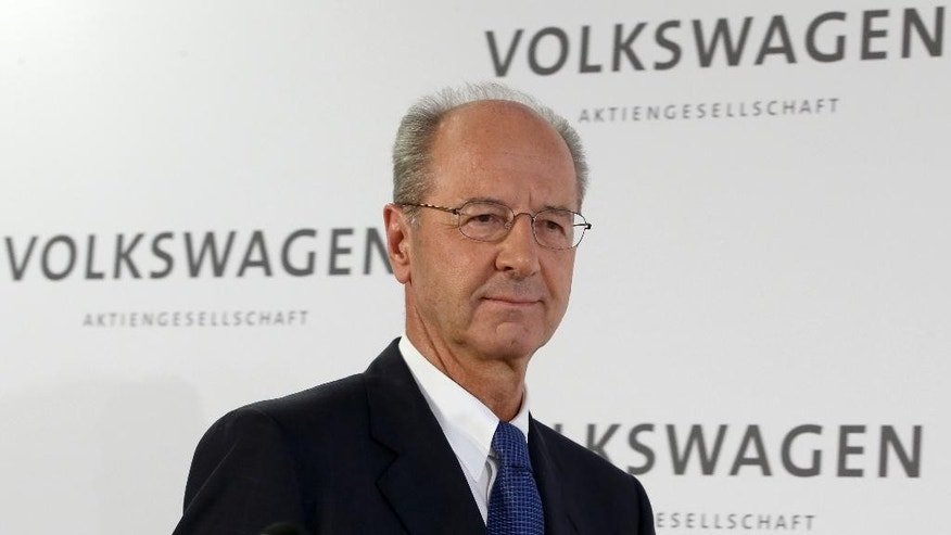 Hans Dieter Poetsch, new chairman of the board of directors of the Volkswagen stock company, arrives for a press statement at the company headquarter in Wolfsburg, Germany, Wednesday, Oct. 7, 2015. He fills a position vacated when longtime chairman Ferdinand Piech resigned in April. (AP Photo/Michael Sohn)