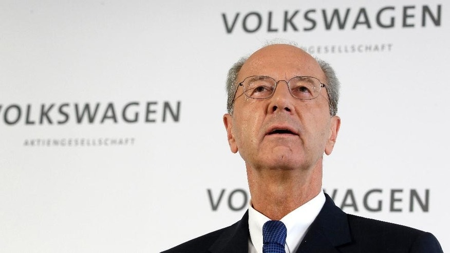 Hans Dieter Poetsch, new chairman of the board of directors of the Volkswagen stock company, speaks during a press statement at the company headquarter in Wolfsburg, Germany, Wednesday, Oct. 7, 2015. He fills a position vacated when longtime chairman Ferdinand Piech resigned in April. (AP Photo/Michael Sohn)